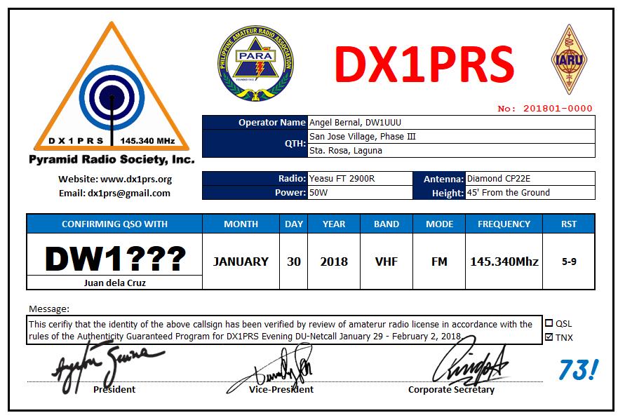 DX1PRS QSL CARD TEMPLATE